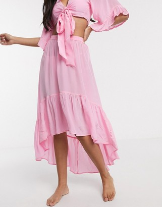 ASOS DESIGN satin high low hem beach skirt co-ord in dolly pink