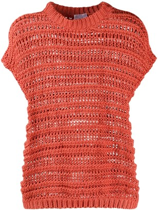 Brunello Cucinelli Open-Knit Cotton Top