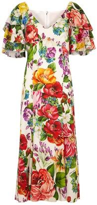 Dolce & Gabbana White floral-print stretch-silk dress