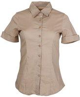 Clothes Effect Ladies Cuffed Short Sleeve Button-Up Dress Shirt