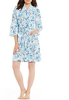 Miss Elaine Floral Waffle-Knit Wrap Robe