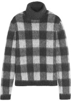 Balenciaga Checked Brushed Knitted Turtleneck Sweater - Gray