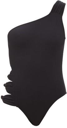 Leslie Amon Karry One-shoulder Cutout Swimsuit - Black