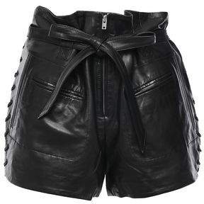 IRO Andy Belted Lace-up Leather Shorts