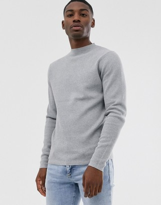 Selected ribbed crew neck jumper in grey