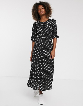 Vila ditsy midi tea dress-Black