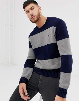 Polo Ralph Lauren chunky knitted jumper in grey block stripe with player logo