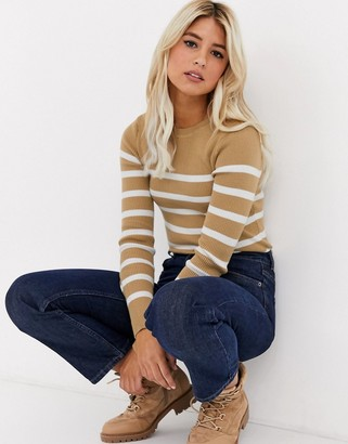 New Look stripe crew neck sweater in camel