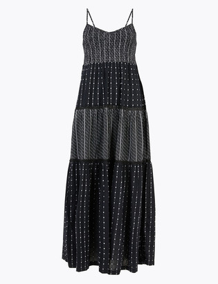 Marks and Spencer Cotton Printed V-Neck Maxi Dress