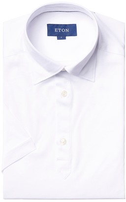 Eton Slim Fit Short Sleeved White Jersey Popover Shirt
