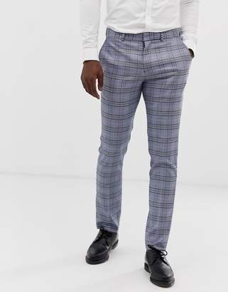 Selected slim suit pants in gray check