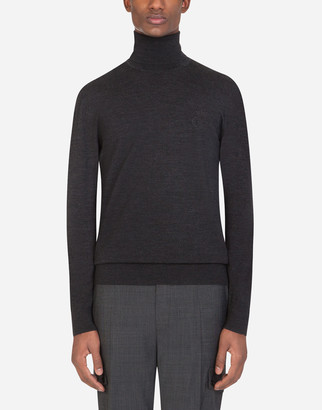 Dolce & Gabbana Wool Turtle-Neck Sweater With Embroidery