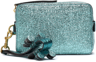 Anya Hindmarch Metallic Textured-leather Clutch