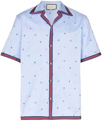 Gucci Web trim logo print bowling shirt