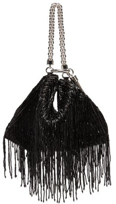 Jimmy Choo Callie Bead-fringed Satin Clutch Bag - Black