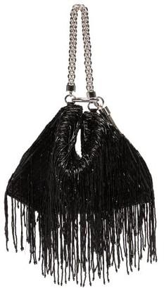 Jimmy Choo Callie Bead-fringed Satin Clutch Bag - Womens - Black