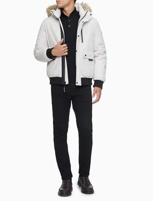 Calvin Klein Solid Faux Fur Hood Parka Bomber Jacket