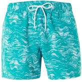 Topman Turquoise and White Wave Print Swim Shorts