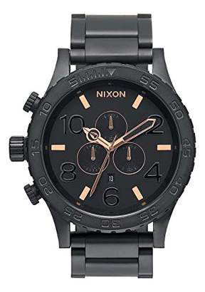 Nixon 51-30 Chrono Black/Rose Gold Men's Underwater Stainless Steel Watch (51mm. Black & Rose Gold Face/Black Stainless Steel Band)