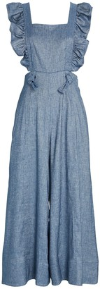 AMUR Amy Chambray Frilled Jumpsuit