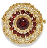 Tatitoto Gioie Women's Brooch in 18k Gold with Garnet, 7.5 Grams