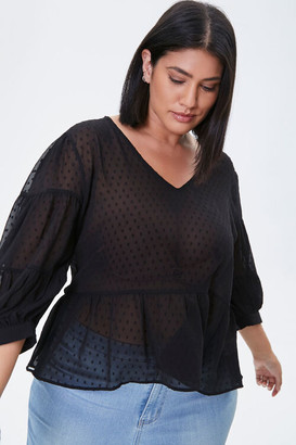 Forever 21 Plus Size Sheer Swiss Dot Top