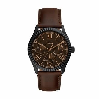 Fossil Men's Chapman Quartz Leather Multifunction Watch Color: Black Brown (Model: FS5635)