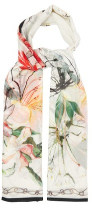 Alexander McQueen Floral-print Cotton-blend Voile Scarf - Womens - Ivory