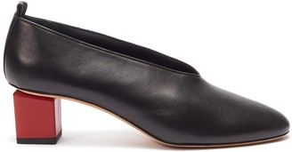 Gray Matters Mildred' geometric heel choked-up leather pumps
