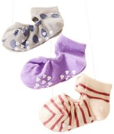 CHUNG Toddlers Thin No Show Top Cut Out Floor Slipper Socks Non Skid 3 Pack, Girl , 3-4Y