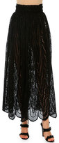 Valentino High-Waist Scalloped-Lace Skirt, Black