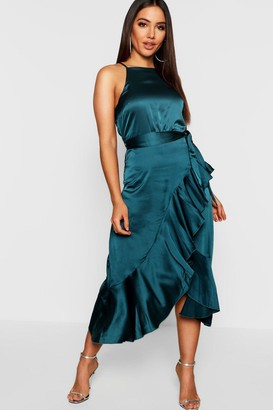 boohoo Satin Frill Wrap Midi Dress