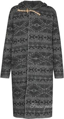 Snow Peak Geometric Pattern Wool Duffle Coat