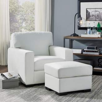 Home Styles Erin Upholstered Contemporary Chair & Ottoman Ivory