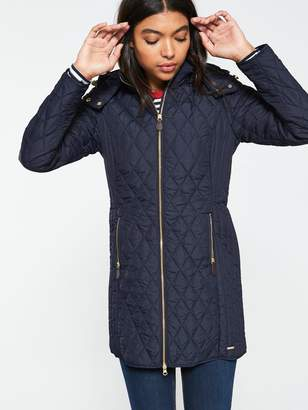 Joules Chatham Diamond Quilted Jacket - Navy