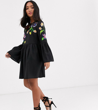 ASOS DESIGN Petite fluted sleeve embroidered smock mini dress