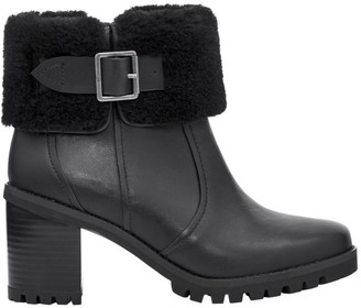 UGG Elisiana Faux Fur-Trimmed Leather Boots