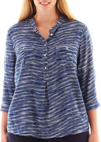 JCPenney jcp™ 3/4-Sleeve Print Peasant Top - Plus