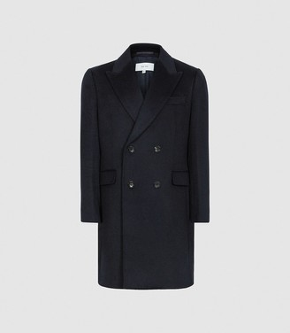 Reiss Milton - Wool Blend Double Breasted Coat in Navy