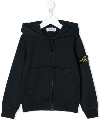 Stone Island Junior Zip-Up Logo Patch Hoodie