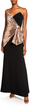 Jill by Jill Stuart Strapless Crepe Column Gown w/ Sequin Bow Detail