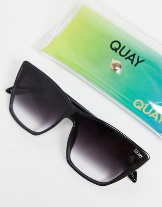 Quay On Point womens cat eye sunglasses in black