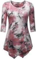 DJT Womens 3/4 Sleeve Tie Dyed Hankerchief Hem Tunic Top Tie Dye Grey