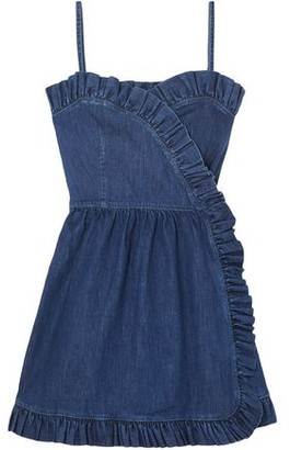 Stella McCartney Ruffle-trimmed Denim Wrap Mini Dress