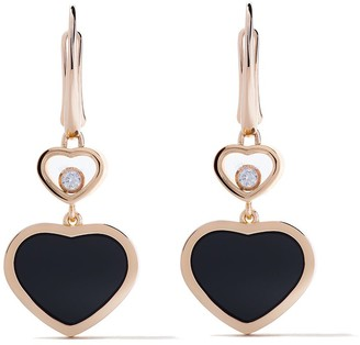 Chopard 18kt rose gold Happy Hearts onyx and diamond drop earrings