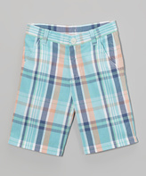 E-Land Kids Mint Plaid Shorts - Infant & Boys