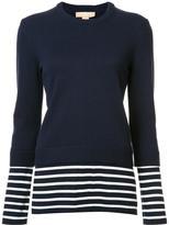 Michael Kors stripes detail ribbed trim sweatshirt - women - Cotton/Cashmere - S