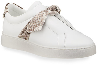 Alexandre Birman Jungle Laceless Python Bow Sneakers
