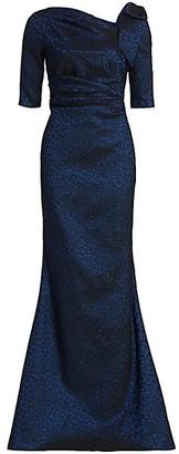Teri Jon by Rickie Freeman Metallic Bow Shoulder Gown