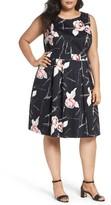 Sejour Plus Size Women's Floral Fit & Flare Dress